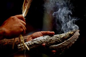 Smudging Feather Burning sage